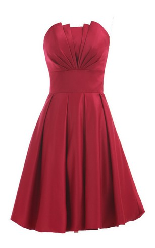 Strapless A Line Short Ruffled Dress With Flower