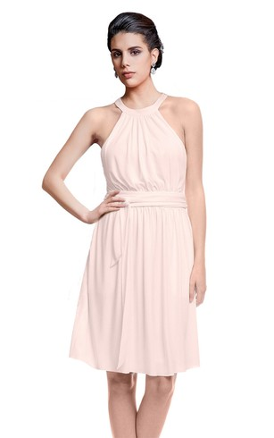 Knee Length Halter Sleeveless Chiffon Dress