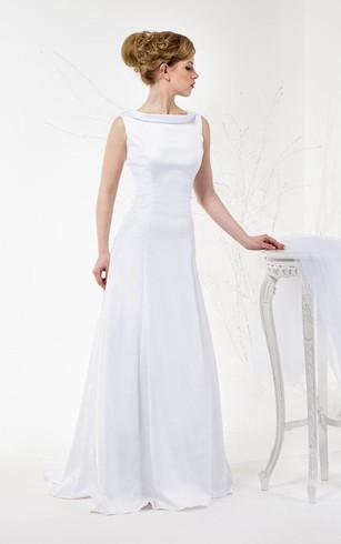 Satin Sleeveless A Line Cowl Neck Dress With Deep V Back