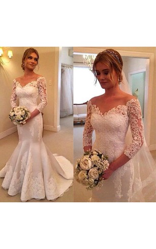 3 4 Illusion Sleeves Off Shoulder Style Mermaid Lace Gown