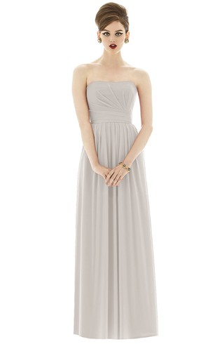 long light grey strapless dress