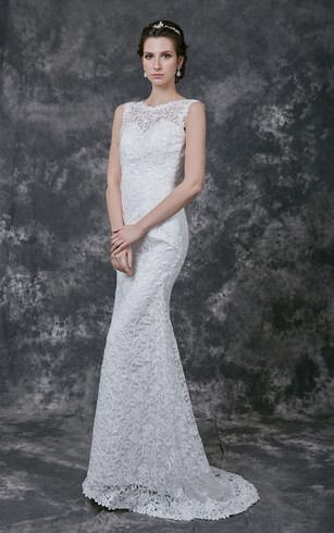 Illusion Cap-Sleeve Jewel Neck Mermaid Lace Gown With Open Back