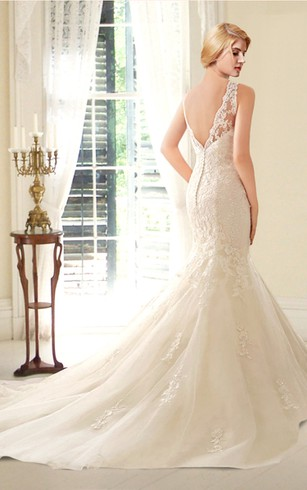 Sleeveless Illusion Neck Mermaid Lace Wedding Dress With V Back