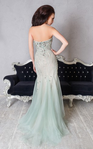 Mermaid Floor-Length Sweetheart Sleeveless Tulle Beading Pleats Zipper Dress