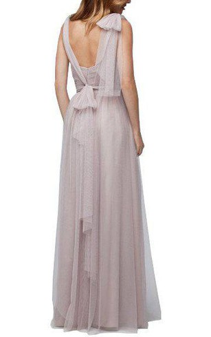 Tulle V-neck Long Bridesmaid Dress with Bow and Drapping