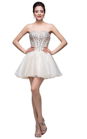 Glamorous Sweetheart Crystal Short Homecoming Dress 2016 Tulle