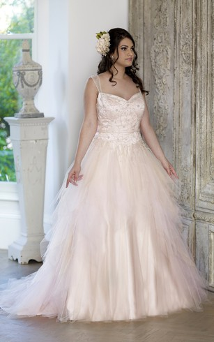 Ball Gown Floor-Length Straps Sleeveless Tulle Chapel Train Lace-Up Back Ruffles Dress