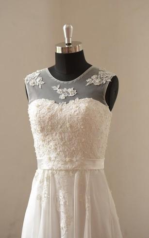 Jewel Neck Sleeveless A Line Pleated Chiffon Dress With Lace Bodice