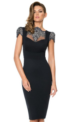 Shining Sequins Sheath Bateau Short Sleeve Backless Knee Length Rhinestone Formal Gowns