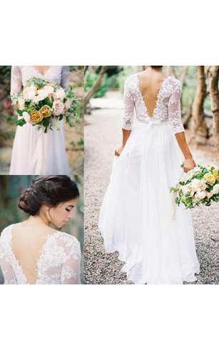 Rustic wedding gowns country western bridal dresses dorris lace bodice a line chiffon gown with v neck and v back junglespirit Choice Image