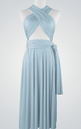 Criss-cross Bandage Top Pleated Chiffon Knee Length Dress With Sash