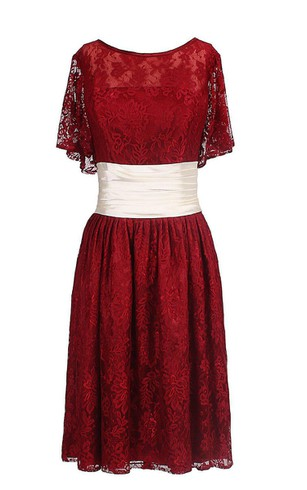 Half-sleeved A-line Lace Dress With Ruched Waist