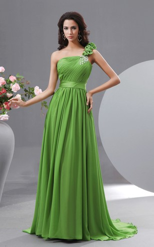 Graceful Floral One-Shoulder Chiffon A-Line Gown Has Crystal Details
