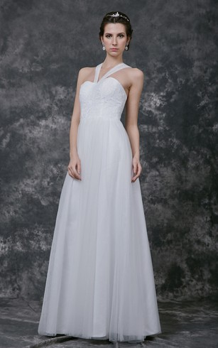 Halter top wedding dresses dorris wedding sleeveless halter neck a line tulle gown with lace top junglespirit