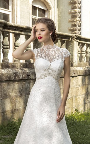 High Neck Cap Sleeve Backless Lace Dress With Crystal Detailing