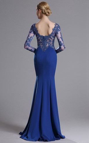 Mermaid Floor-Length Sweep Sweetheart Long Sleeve Jersey Lace Lace Zipper Dress