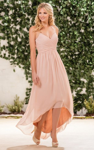 Halter A Line High Low Bridesmaid Dress With Crisscrossed Ruches ...