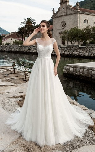 Wholesale wedding dresses cheap wedding dresses dorris wedding a line floor length jewel neck cap sleeve illusion tulle dress with junglespirit Images