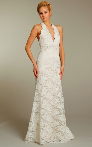Fabulous Halter Neckline Lace Dress With Floral Embellished Waist