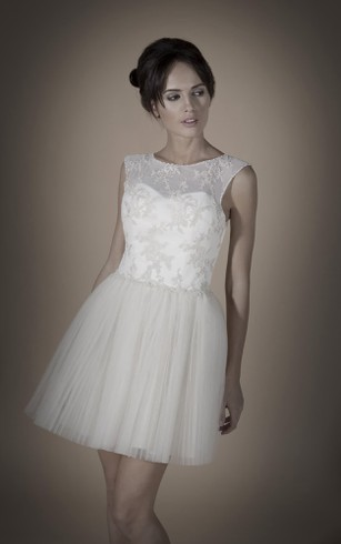 A-Line Mini Scoop Sleeveless Keyhole Tulle Dress With Appliques