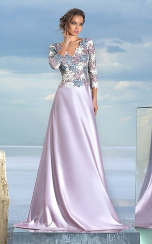 A-line Floor-length V-neck Long Sleeve Satin Low-V Back Dress
