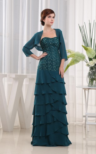 Strapless Long Chiffon Dress With Beading and Applique