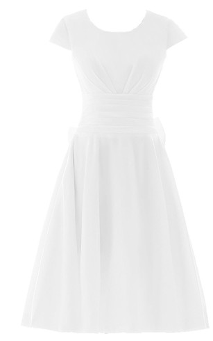 Short Sleeve Ruched Sash Midi-length Pleated Chiffon Dress