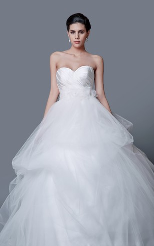 Trumpet Lace Sweetheart Dress With Asymmetrical Ruched Bodice
