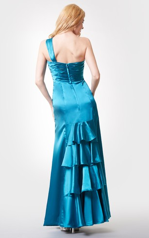 Sleeveless Ruched Long Chiffon Dress With Crystal Brooch and Tiers