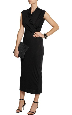V Neck Cap Sleeve Sheath Jersey Tea Length Dress With Ruching
