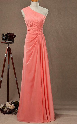 One Shoulder A-line Pleated Chiffon Floor Length Dress With Ruching
