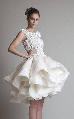 A Line Ball Gown Empire Mini Jewel Bell Cap Empire Appliques Ruffles Button  Lace Organza ...
