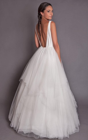 Sexy backless wedding dress low v back bridal dresses dorris wedding high neck sleeveless a line tulle dress with tiers junglespirit Image collections