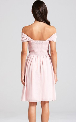 Delicate Off-The-Shoulder A-Line Dress With Beaded Sash