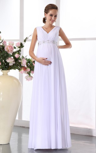 V Neck Empire Chiffon Maternity Dress With Belted Waist ...