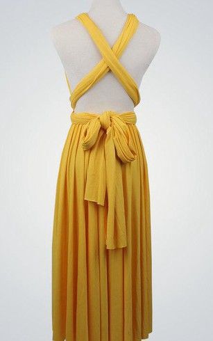 Criss Cross Top A-line Pleated Jersey Knee Length Dress With Sash Yellow