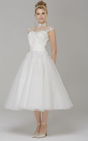 A Line High Neck Cap Sleeve Tea Length Tulle Wedding Dress With Appliques