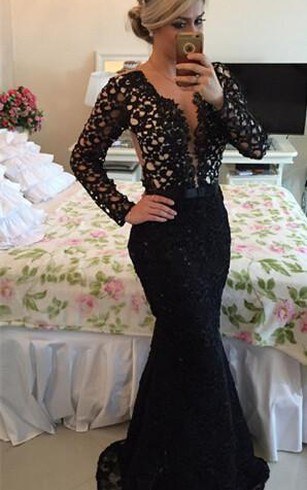 Newest V-neck Black Lace Mermaid Prom Dress 2016 Long Sleeve
