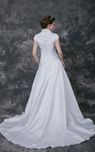 Sophisticated Embroidered A-line Satin Wedding Gown