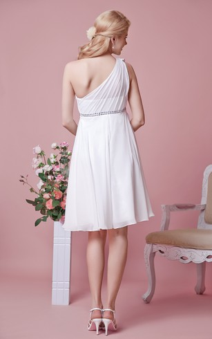 One Shoulder Short Chiffon Dress With Sash