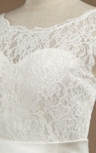 Mermaid Scoop Neck Cap Sleeve Lace Dress With Satin Sash