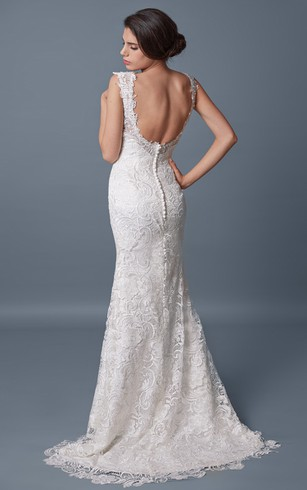 Romantic Off-shoulder Open Back Slim-line Lace and Charmeuse Wedding Gown