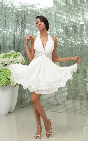 Deep V-Neck Chiffon Dress With Beading and Ruffled Hem
