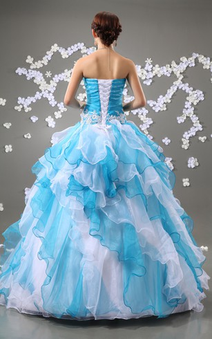 Chic Floral Strapless A-Line Ball Gown With Ruffles and Beading