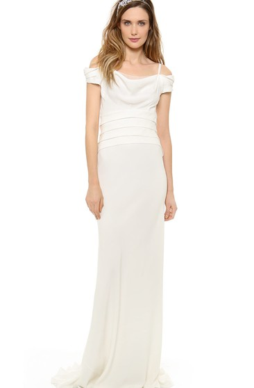 Long Off-shoulder Sheath Chiffon Dress With Low-V Backstyle