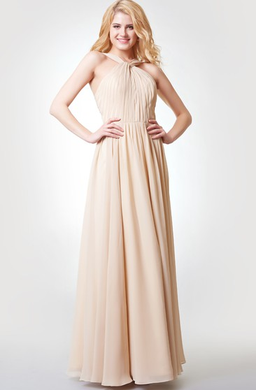 A-line Pleated Long Chiffon Dress With Straps and Sash