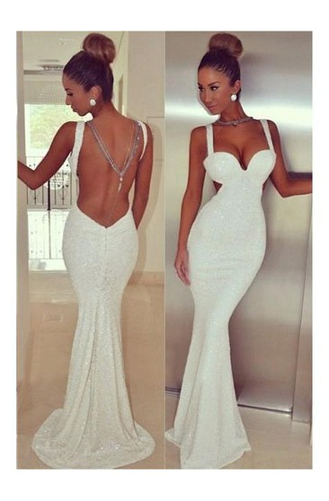 Mermaid Straps Sleeveless Sequin Sweep Train Sequins Dresses