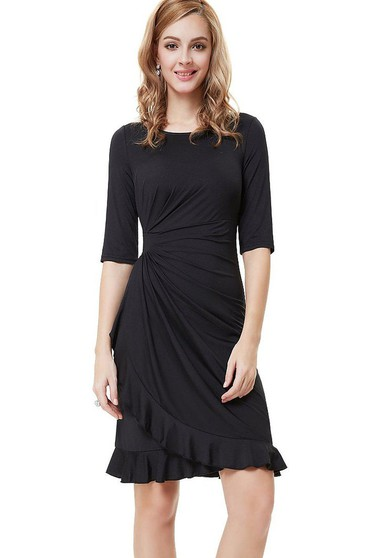 Unique Half-sleeved Knee-length Dress With Ruffles