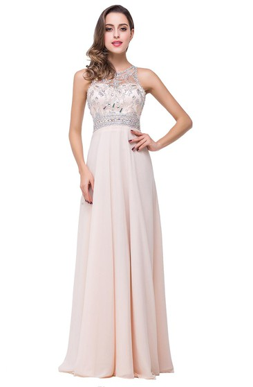 Elegant Beadings Chiffon A-line 2016 Prom Dress Zipper Illusion