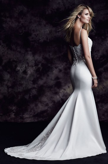 Backless Satin Long Dress With Beading And Lace